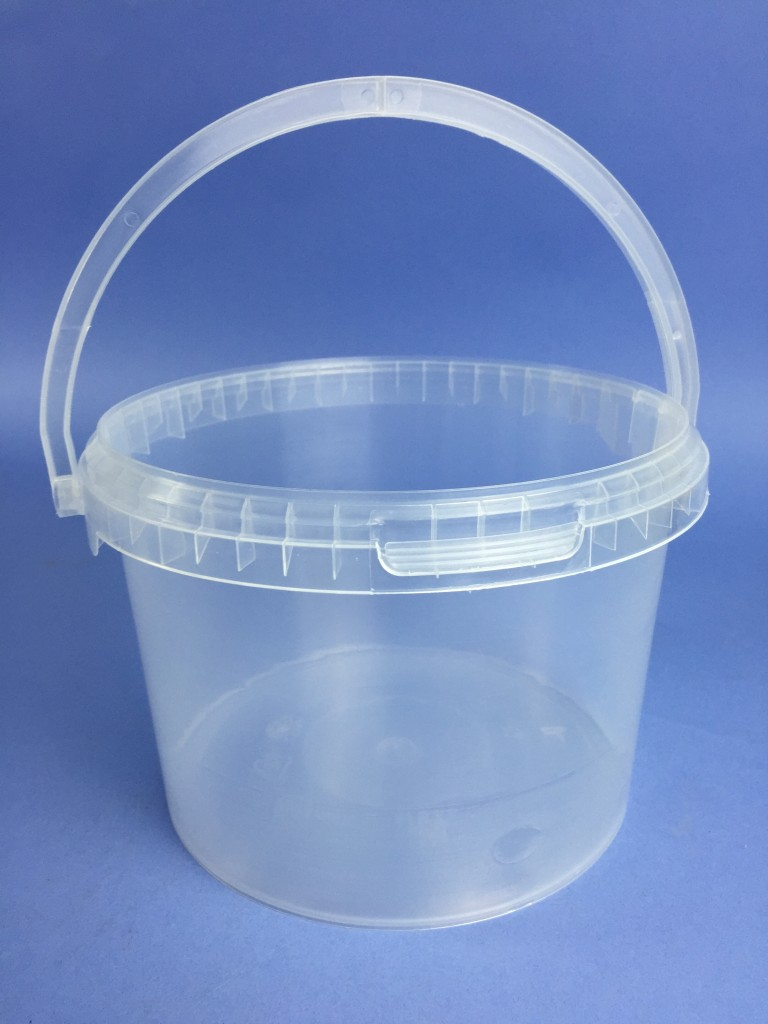 Clear 3 Litre Bucket C W Plastic Handle Amp Tamper Evident