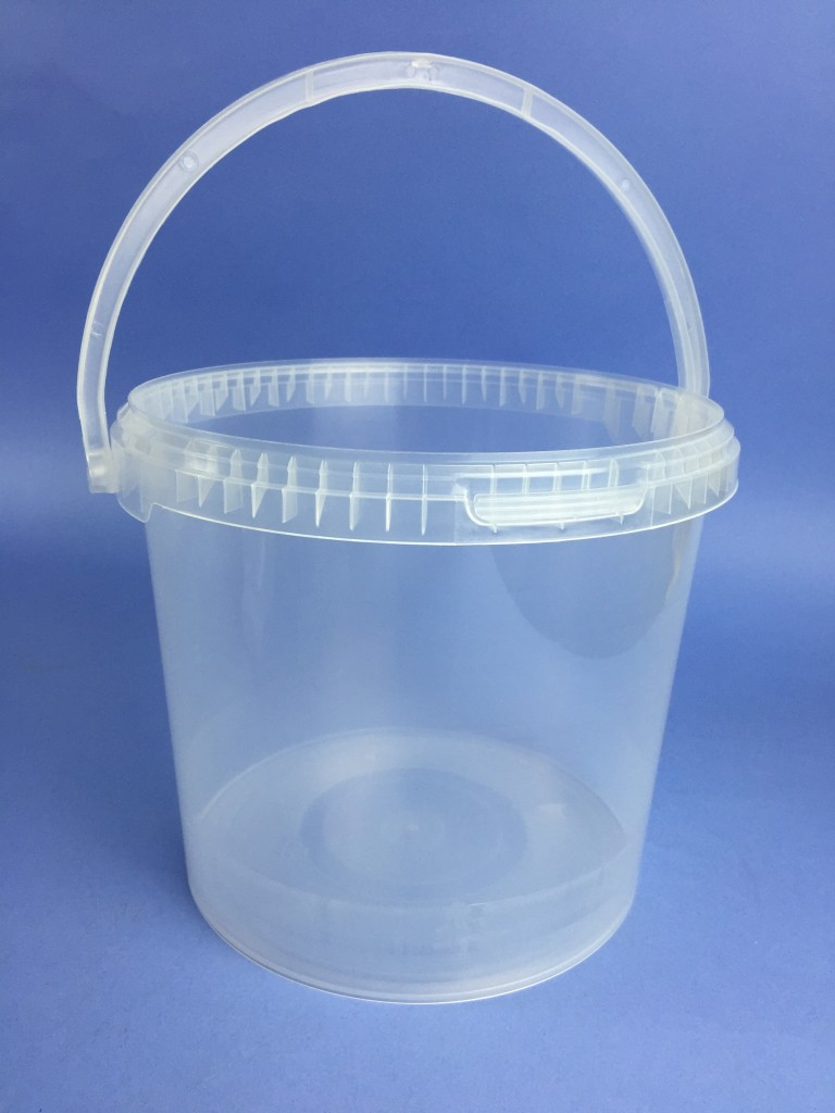Clear 5 Litre Round Bucket C W Plastic Handle Amp Tamper