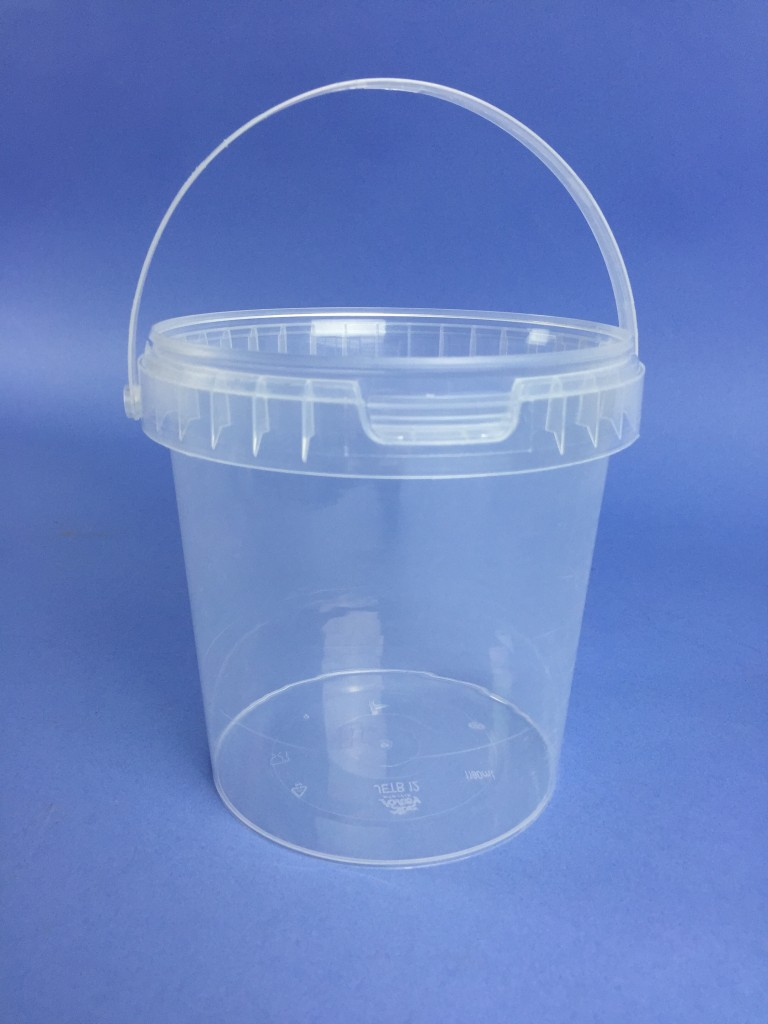 Clear 1 Litre Bucket With Plastic Handle Amp Tamper Evident